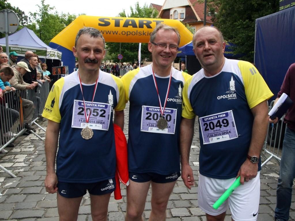 Po ukończonym biegu Opolskiego Maratonu 2014- sztafecie firm, w którym wspólnie z Andrzejem Bułą-Marszałkiem,Skarbnikiem Stanisławem Mazurem